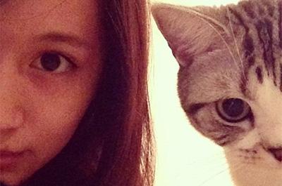 愛猫と写真を撮る前田敦子