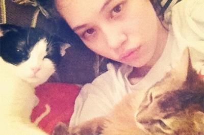 水原希子と二匹の飼猫